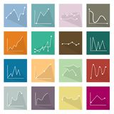 Collection of 16 Line Chart Icons Banner. Flat Icons, Illustration Set of 16 Infographics LinearRegression Chart and Graph Icon Labels Stock Photography