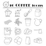 Collection of line coffee icons royalty free illustration