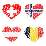 Collection of line drawing hearts - country flags Stock Photos
