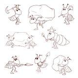 Set of cartoon vector ants Stock Photos