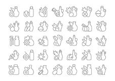 Set of Simple Icons of Oils stock illustration
