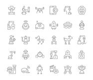 Set of Simple Icons of Robots. royalty free illustration