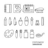 Collection of line style stationery pen, pencil, ruler, ink Stock Images