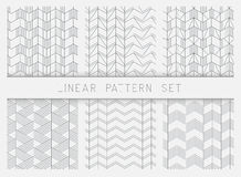 Collection of linear black and white geometric pattern textures. stock illustration