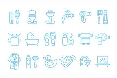 Vector set of linear icons related to bathroom and personal hygiene. Toilet, sink, hairdryer, bathrobe,shaving foam and stock illustration