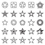 Collection of 25 linear star icons isolated on a white background Stock Image