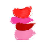 Collection of lipstick smears on white background Royalty Free Stock Images