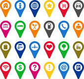 Locators icons. This is a collection of locators with different icons Royalty Free Stock Images