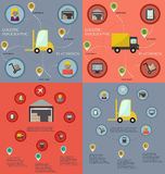 Collection of logistic flat infographics Stock Photos