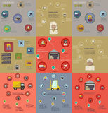 Collection of logistic flat infographics Royalty Free Stock Images