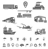 Collection logistics icons Stock Image