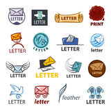 Collection of  logo design delivery of letters Royalty Free Stock Photos