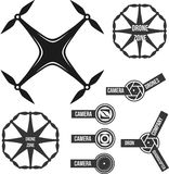 Collection logo drone quadcopter and camera Stock Illustration