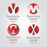 Vector red logo. Collection logo in red on a white letter M Stock Images