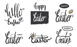 A collection of logos and emblems Hello Easter and Easter lettering, modern calligraphy. Handwritten Easter phrase. Logos and text Royalty Free Stock Photos