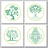 Collection Of Logos Of Green Tree. Set of abstract trees. Design elements for logo or corporate identity. Concept for ecological, real estate or agriculture Stock Photo