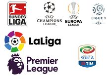 Collection of logos of the major European football leagues. And of the most important competitions vector illustration