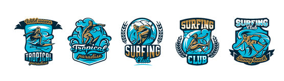 A collection of logos, surfing emblems. People are drifting on the board on the waves, extreme sports. Royalty Free Stock Image