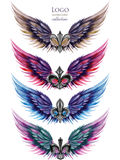 Collection of logos, symbols in the form of wings and heraldic lilies Stock Image