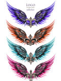 Collection of logos, symbols in the form of wings and heraldic lilies Royalty Free Stock Photos