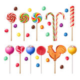 Collection of lollipops with a variety  designs. Stock Photos