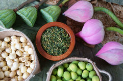 Collection lotus flower, seed, tea, healthy food Royalty Free Stock Image