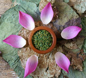 Collection lotus flower, seed, tea, healthy food Royalty Free Stock Photos