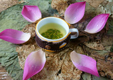 Collection lotus flower, seed, tea, healthy food Stock Photos