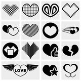 Lvector hearts icon set Royalty Free Stock Images