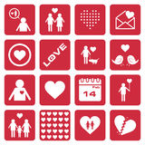 Collection of 16 love icon/sign Royalty Free Stock Photos
