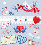 Collection of love mail design elements - birds, e Royalty Free Stock Image