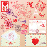 Collection of love mail design elements - stamps,  Stock Photography