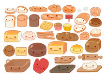 Collection of lovely baby bakery food doodle icon Stock Photos