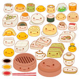 Collection of lovely baby chinese oriental food doodle icon. Cute fun go, adorable har gow, sweet dimsum, kawaii shumai , girly dumpling in childlike manga Stock Photo