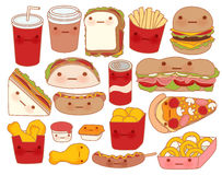 Collection of lovely baby food doodle icon , cute hamburger , adorable sandwich , sweet pizza , kawaii coffee , girly taco. In childlike manga cartoon style Royalty Free Stock Photo
