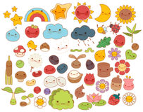 Collection of lovely baby forest nature doodle character icon ,cute star ,adorable flower ,sweet fruit ,kawaii rainbow ,girly bug. Comic apple in childlike stock illustration