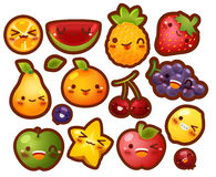 Collection of lovely baby fruit doodle icon Stock Images