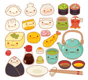 Collection of lovely baby japanese oriental food doodle icon Royalty Free Stock Photo