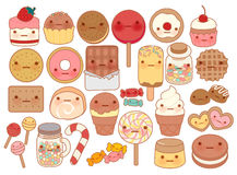 Collection of lovely baby sweet and dessert doodle icon , cute cake , adorable candy , sweet ice cream , kawaii jelly bean Stock Photography