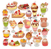 Collection of lovely baby sweet dessert doodle icon, cute ice cream, adorable waffle, sweet crepe, kawaii sundae, girly parfait Stock Photo