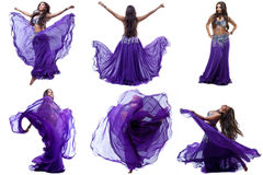 Collection of lovely brunette dancing belly dance Stock Images