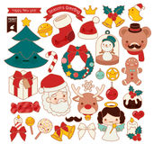 Collection of lovely Christmas doodle icon, cute snowman, adorable angel, sweet wreath , kawaii gingerbread , girly xmas ornament Royalty Free Stock Photo