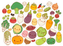 Collection of lovely fruit and vegetable icon , cute carrot , adorable turnip , sweet tomato , kawaii potato, girly corn. On white in childlike manga cartoon Royalty Free Stock Photo