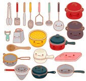 Collection of lovely kitchenware , cute grater , adorable pan , Stock Photos