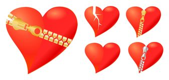 Collection of loving hearts Stock Photos
