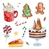 Collection lumineuse avec la sucrerie, les bonbons et les gâteaux de Noël illustration libre de droits
