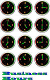 Collection of luminous clocks hour Royalty Free Stock Photo