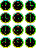 Collection of luminous clocks hour Stock Photos