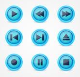 Collection lustrée de boutons de reproducteur multimédia Photos stock