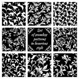 Collection of luxurious seamless patterns. White floral tracery Royalty Free Stock Image